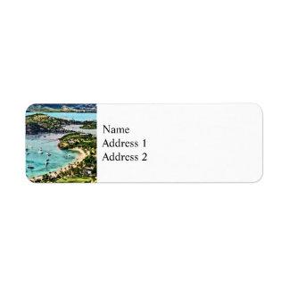 Antigua View Falmouth Harbor Return Address Label