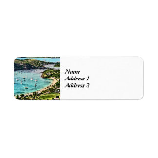 Antigua View Falmouth Harbor Save the Date Return Address Label