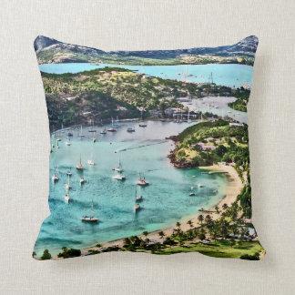 Antigua View Falmouth Harbor Throw Pillow