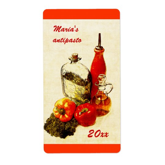 antipasto or roasted peppers canning label