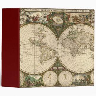Antique 1660 World Map by Frederick de Wit Vinyl Binder
