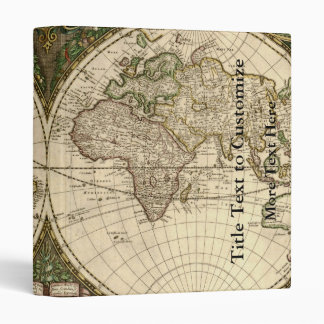 Antique 1660 World Map by Frederick de Wit Binder