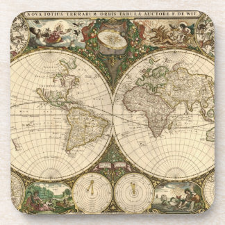 Antique 1660 World Map by Frederick de Wit Coasters
