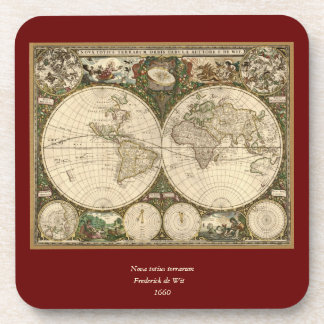 Antique 1660 World Map by Frederick de Wit Drink Coaster