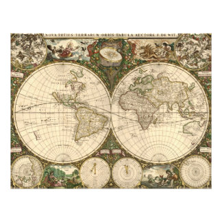 Antique 1660 World Map by Frederick de Wit Flyer