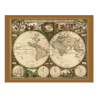 Antique 1660 World Map by Frederick de Wit Postcards