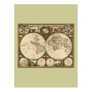 Antique 1660 World Map by Frederick de Wit Postcard