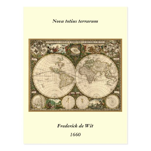 Antique 1660 World Map by Frederick de Wit Post Cards