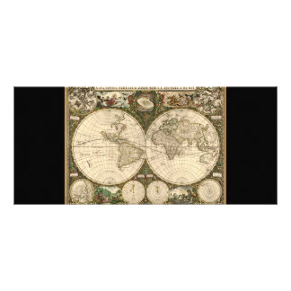 Antique 1660 World Map by Frederick de Wit Rack Cards