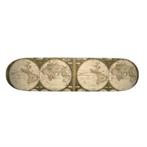 Antique 1660 World Map by Frederick de Wit Skateboard Decks