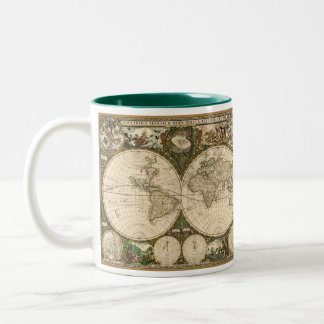 Antique 1660 World Map by Frederick de Wit Two-Tone Mug