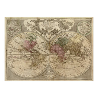 Antique 1690 World Map by Guillaume de L'Isle Poster