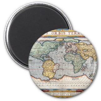 Antique 16th Century World Map 2 Inch Round Magnet