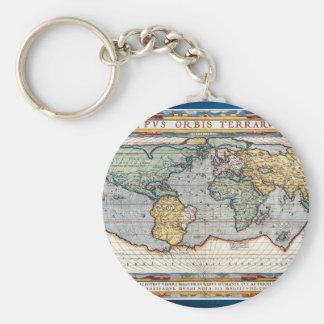 Antique 16th Century World Map Basic Round Button Keychain