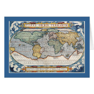 Antique 16th Century World Map Card