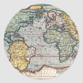 Antique 16th Century World Map Classic Round Sticker