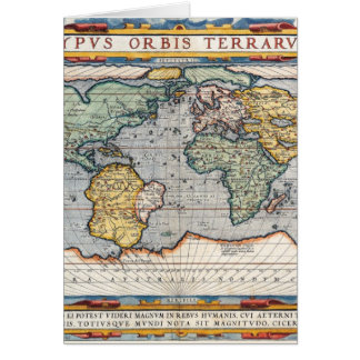 Antique 16th Century World Map Greeting Card