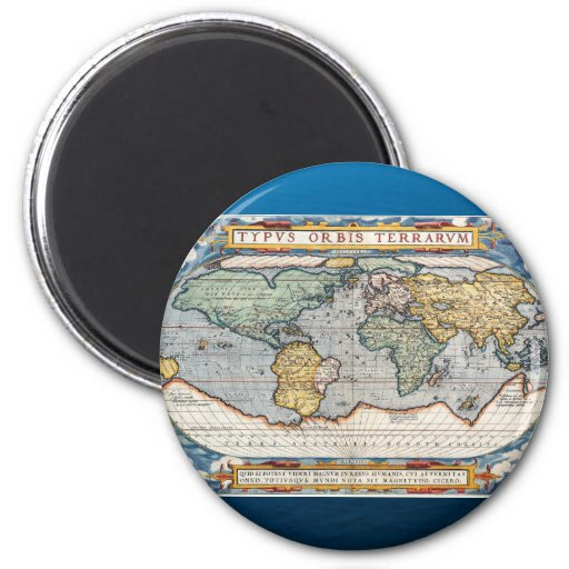 Antique 16th Century World Map Fridge Magnet