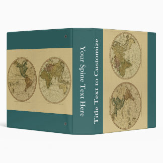 Antique 1786 World Map by William Faden 3 Ring Binders