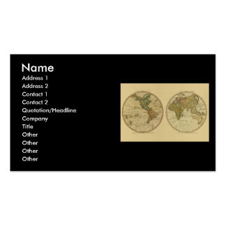 Antique 1786 World Map by William Faden Business Card Templates