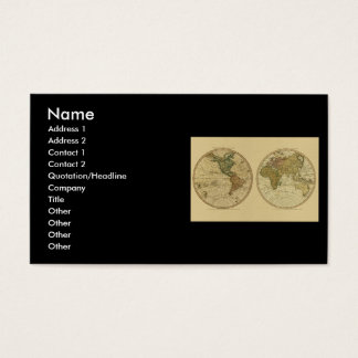 Antique 1786 World Map by William Faden Business Card