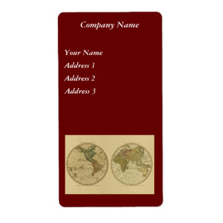 Antique 1786 World Map by William Faden Shipping Label