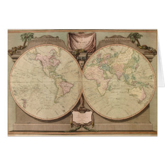Antique 1808 World Map by Laurie and Whittle Card