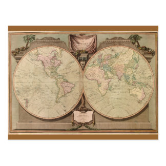 Antique 1808 World Map by Laurie and Whittle Postcard