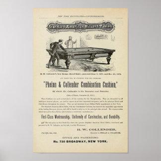 Antique 1874 Billiard Tables ad Poster