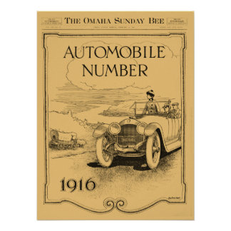 antique 1916 Omaha Daily Bee automobile section Poster