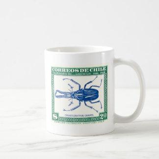 Antique 1948 Chile Stag Beetle Postage Stamp Coffee Mug