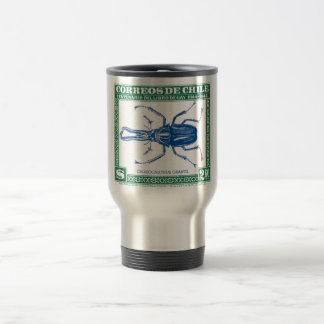 Antique 1948 Chile Stag Beetle Postage Stamp Travel Mug