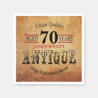 Antique 70th Birthday Design Disposable Napkins