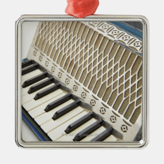 Antique Accordion Keyboard Silver-Colored Square Ornament