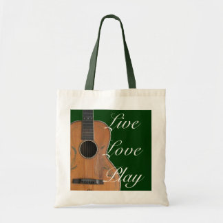 Antique Acoustic Guitar Tote Budget Tote Bag