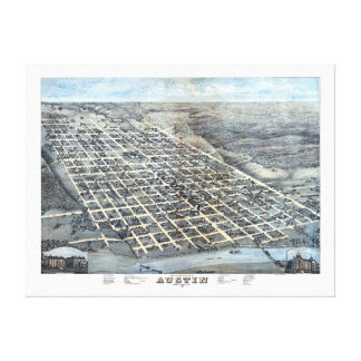 Antique Aerial City Map of Austin, Texas, 1873 Canvas Print