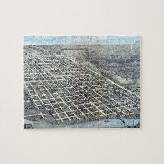 Antique Aerial City Map of Austin, Texas, 1873 Puzzles