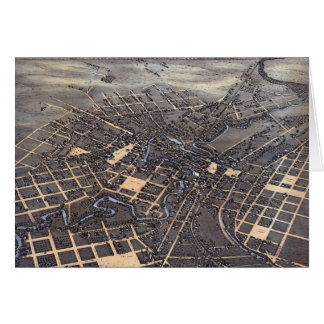 Antique Aerial City Map of San Antonio, Texas 1873 Card