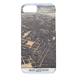 Antique Aerial City Map of San Antonio, Texas 1873 iPhone 7 Case