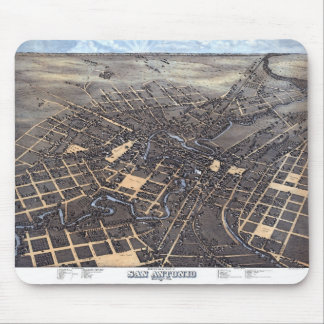 Antique Aerial City Map of San Antonio, Texas 1873 Mouse Pad