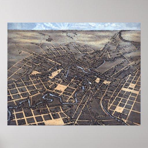 Antique Aerial City Map of San Antonio, Texas 1873 Poster
