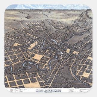 Antique Aerial City Map of San Antonio, Texas 1873 Square Sticker