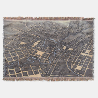 Antique Aerial City Map of San Antonio, Texas 1873 Throw Blanket