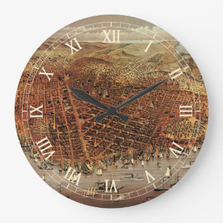 Antique Aerial Map of San Francisco, California Large Clock