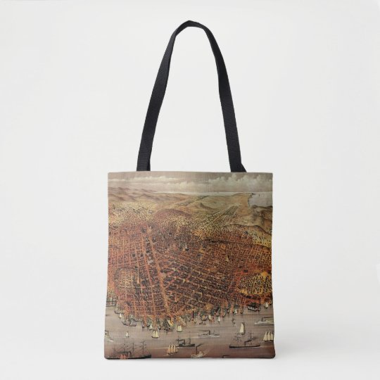 Antique Aerial Map of San Francisco, California Tote Bag