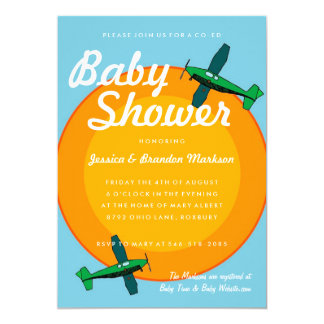 Antique Airplanes Boy Twin Baby Shower Card