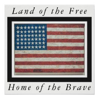 Antique American Flag 48 States Framed Poster