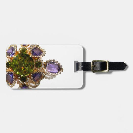 Antique Amethyst and Peridot broach Bag Tag