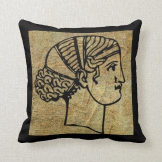 Antique Ancient Grecian Greek Woman Throw Pillow