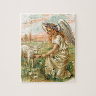 Antique Angel Feeding A Lamb Jigsaw Puzzle